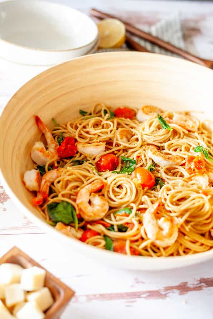 large bowl of pasta with shrimp and spaghetti