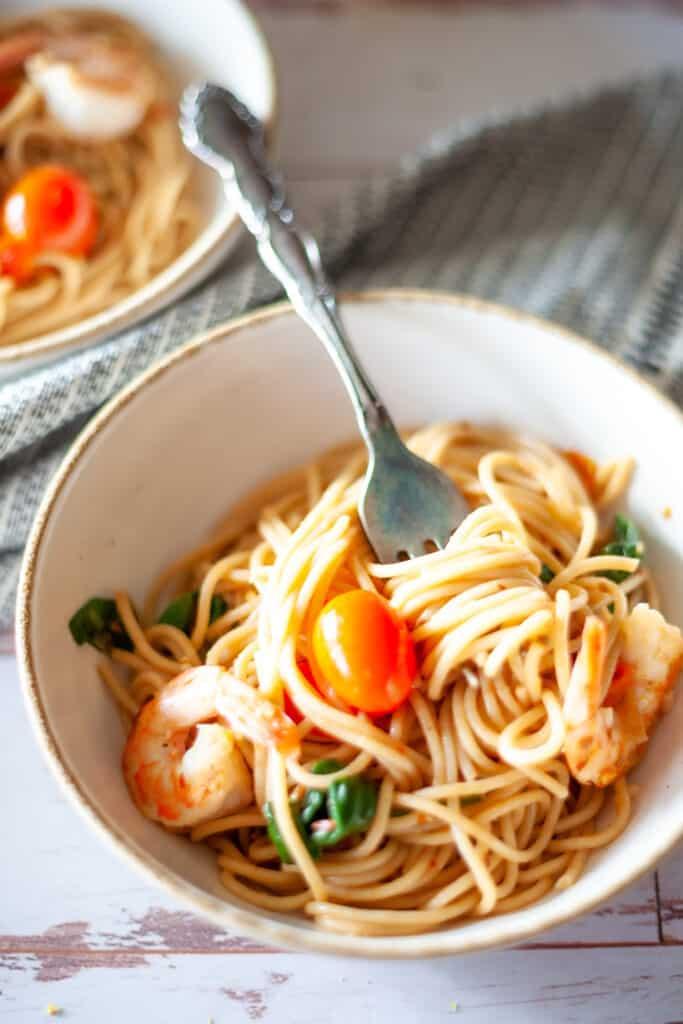 closeup of shrimp pasta