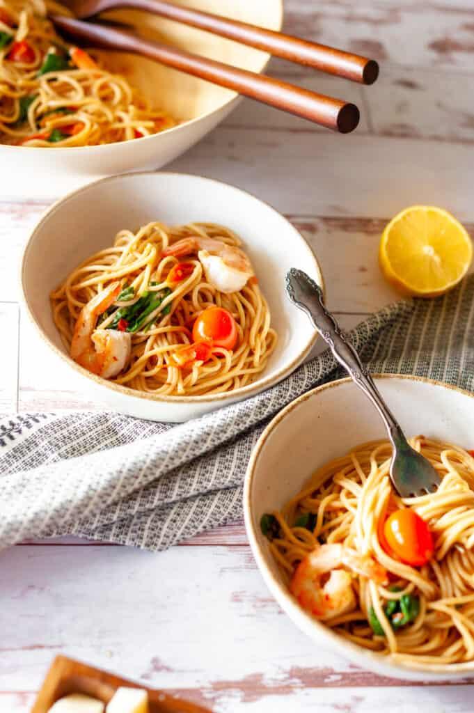 lemon garlic shrimp pasta plated in a bowl
