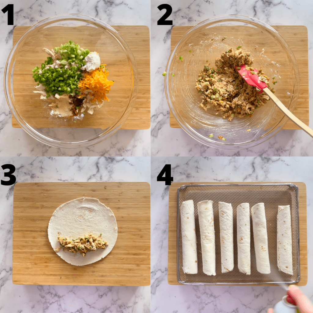 Step-by-step photos of how to make taquitos