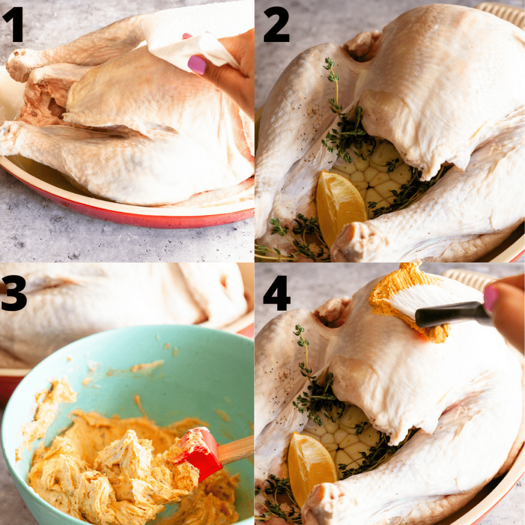 Step by step photos on how to stuff and season turkey