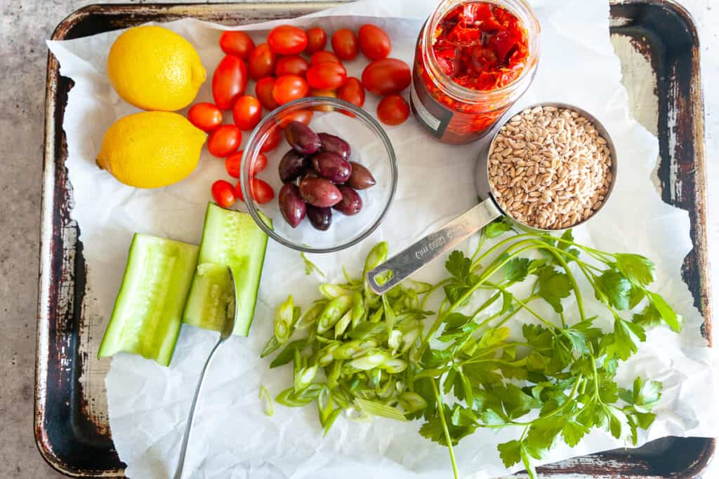 ingredients for salad on a tray
