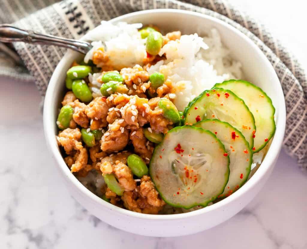 close-up of rice bowls