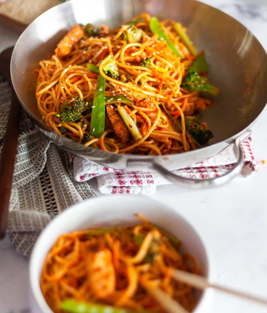 Plated peanut noodles in a bowl
