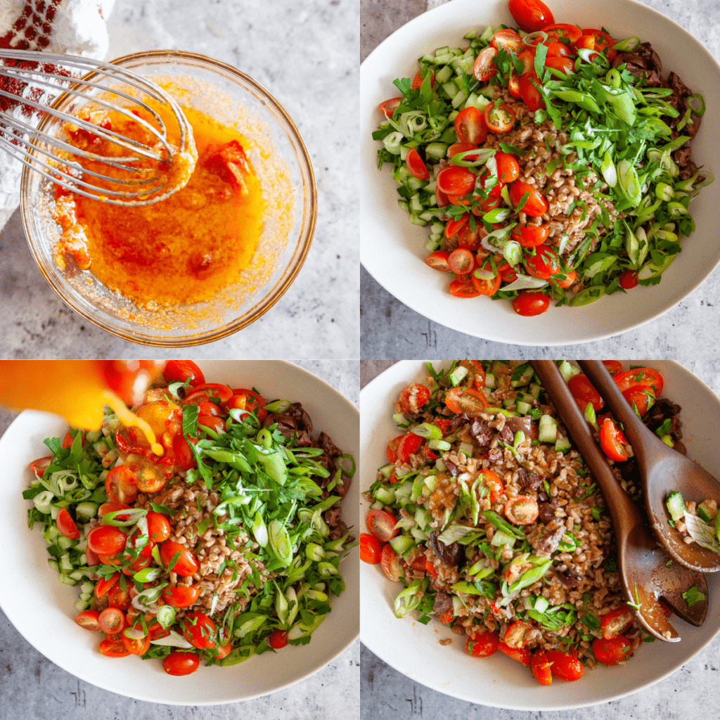 step-by-step shots of how to make the salad
