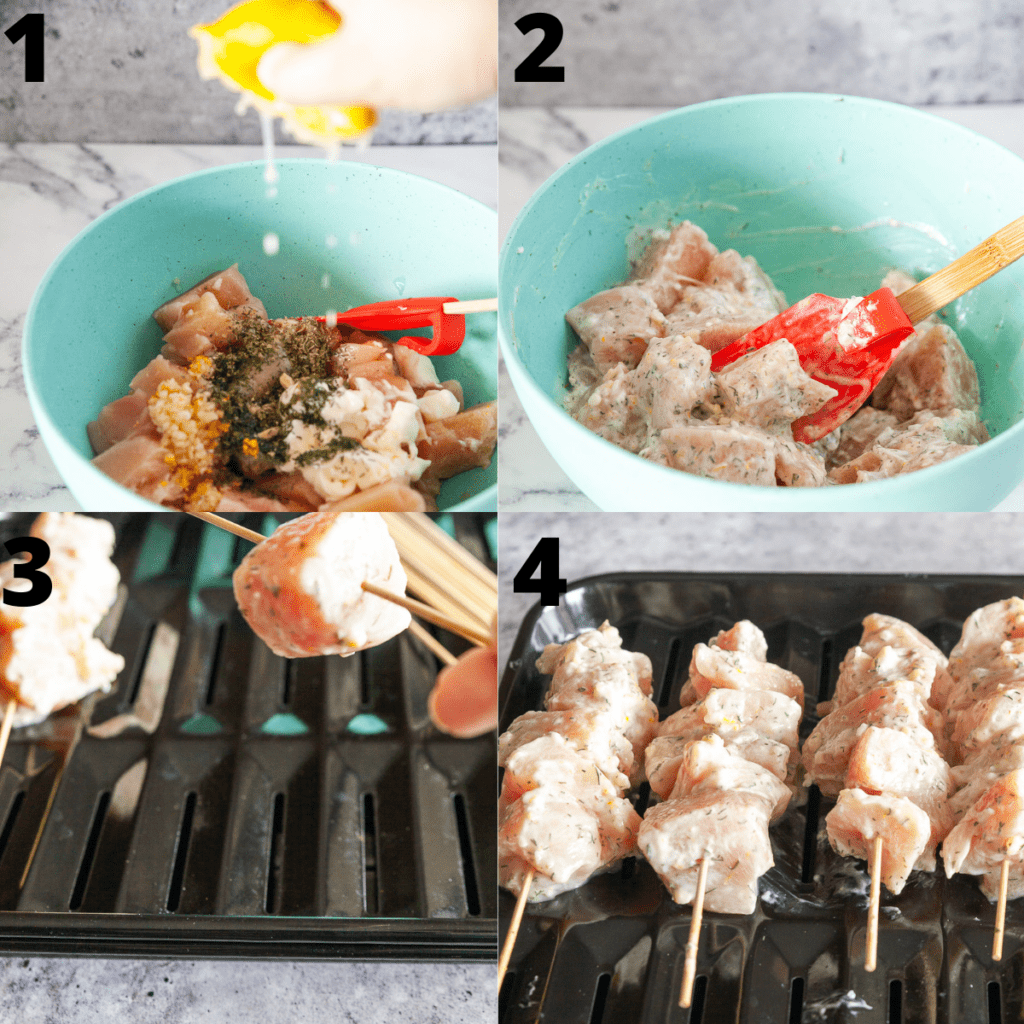 Step by Step photos of how to marinate and skewer chicken