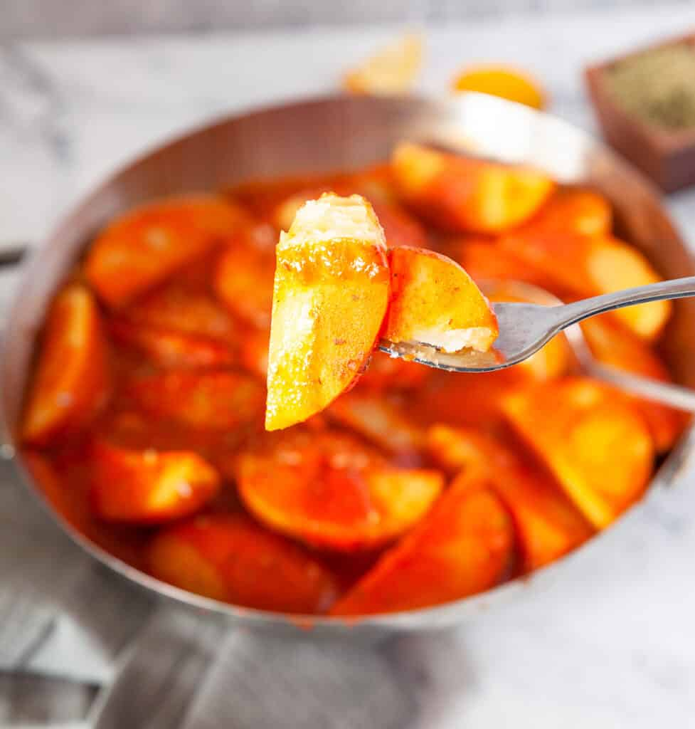 Greek potatoes on a fork