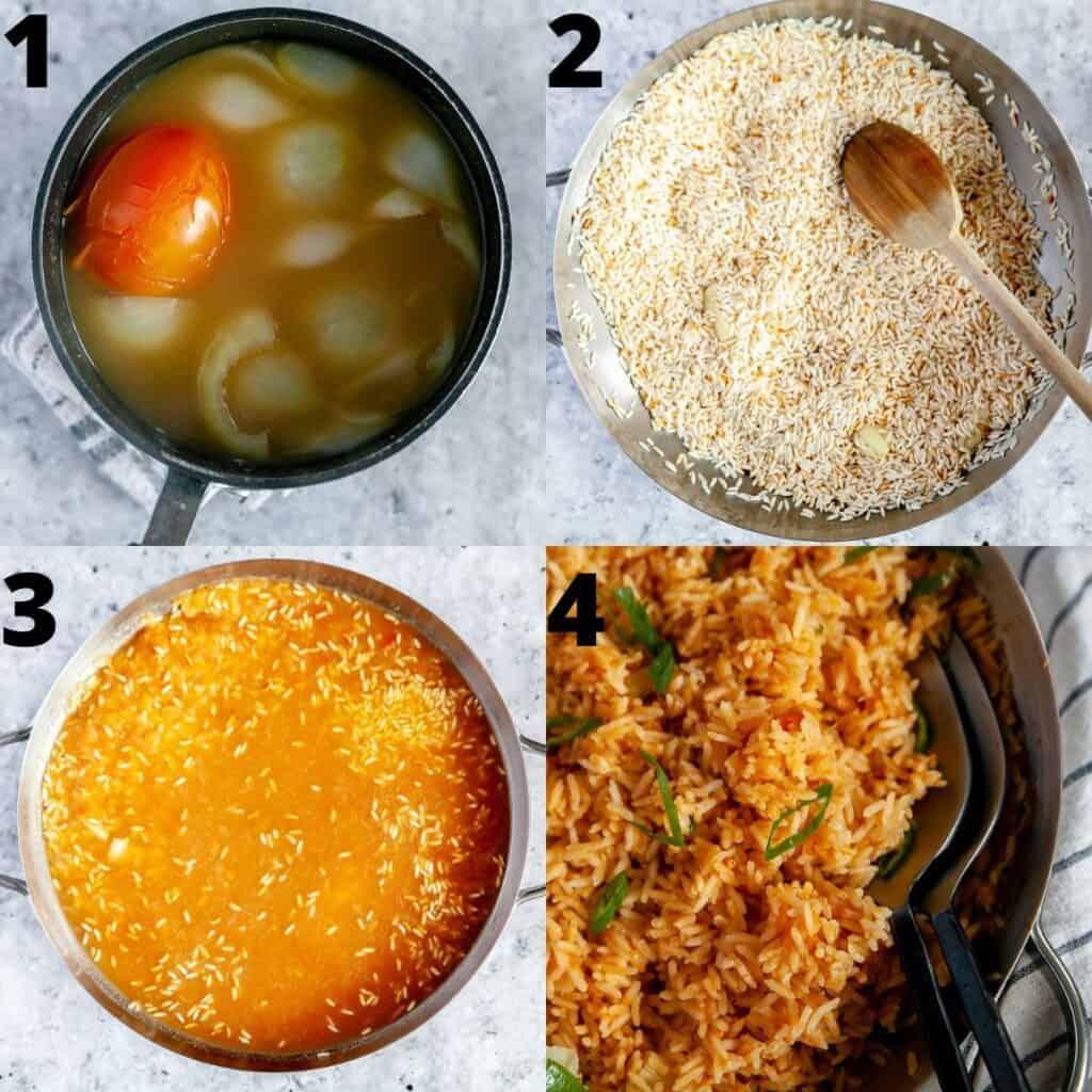 Step by step photos to prepare rice