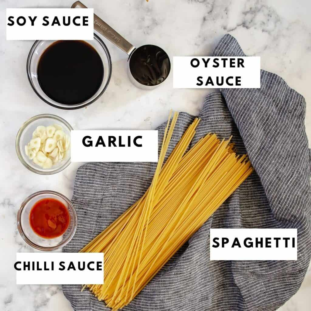 Ingredients for chilli noodles laid out