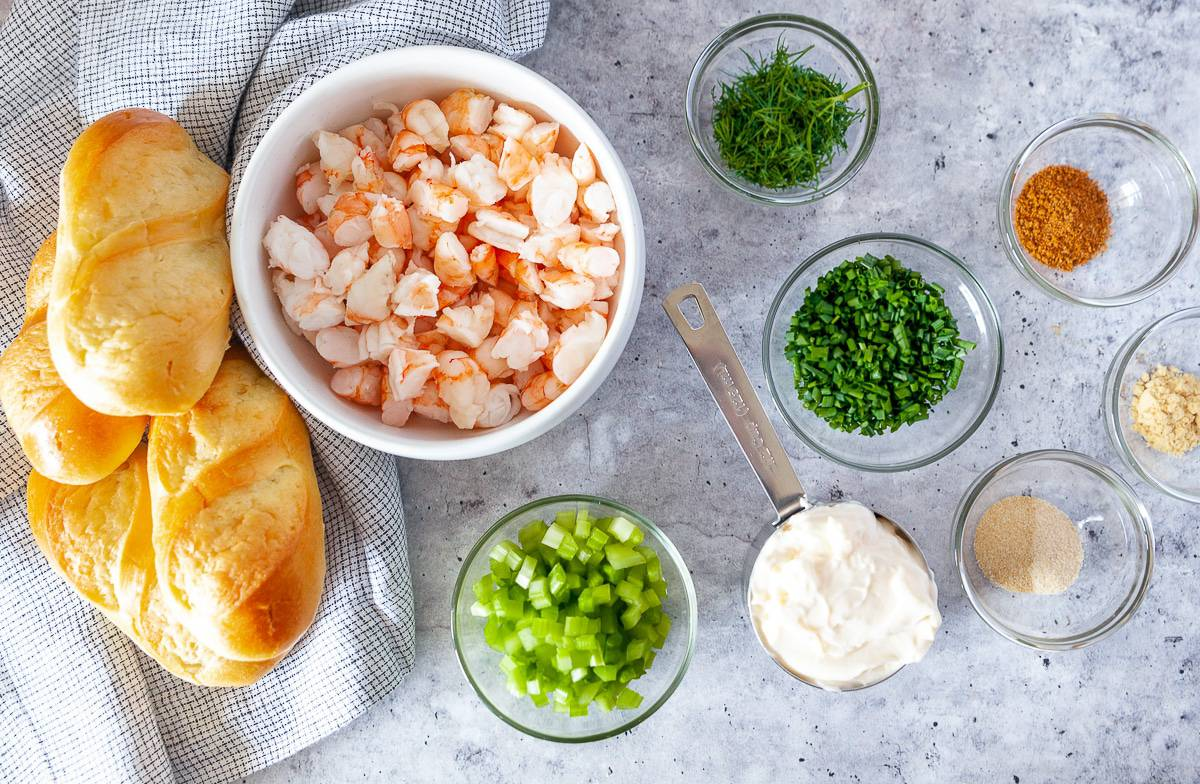 Ingredients for shrimp rolls laid out