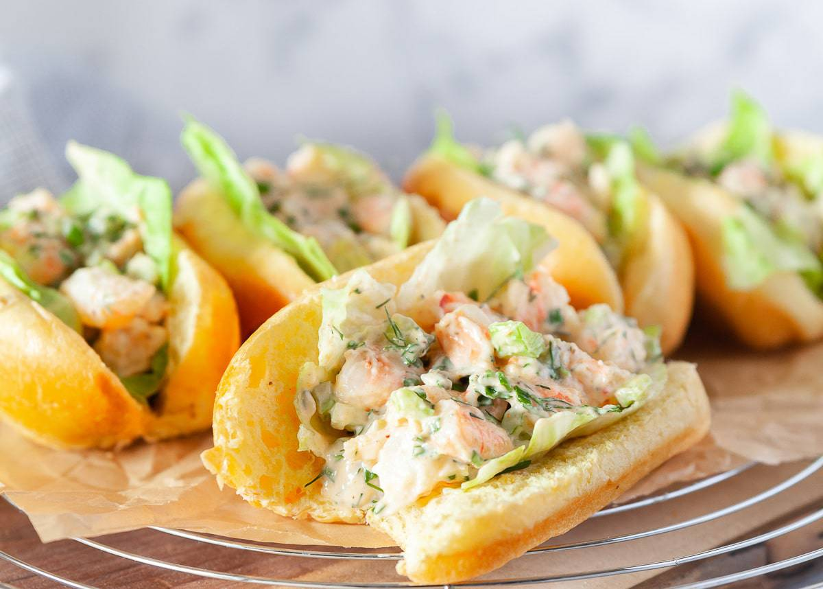 New England shrimp rolls laid out on a tray