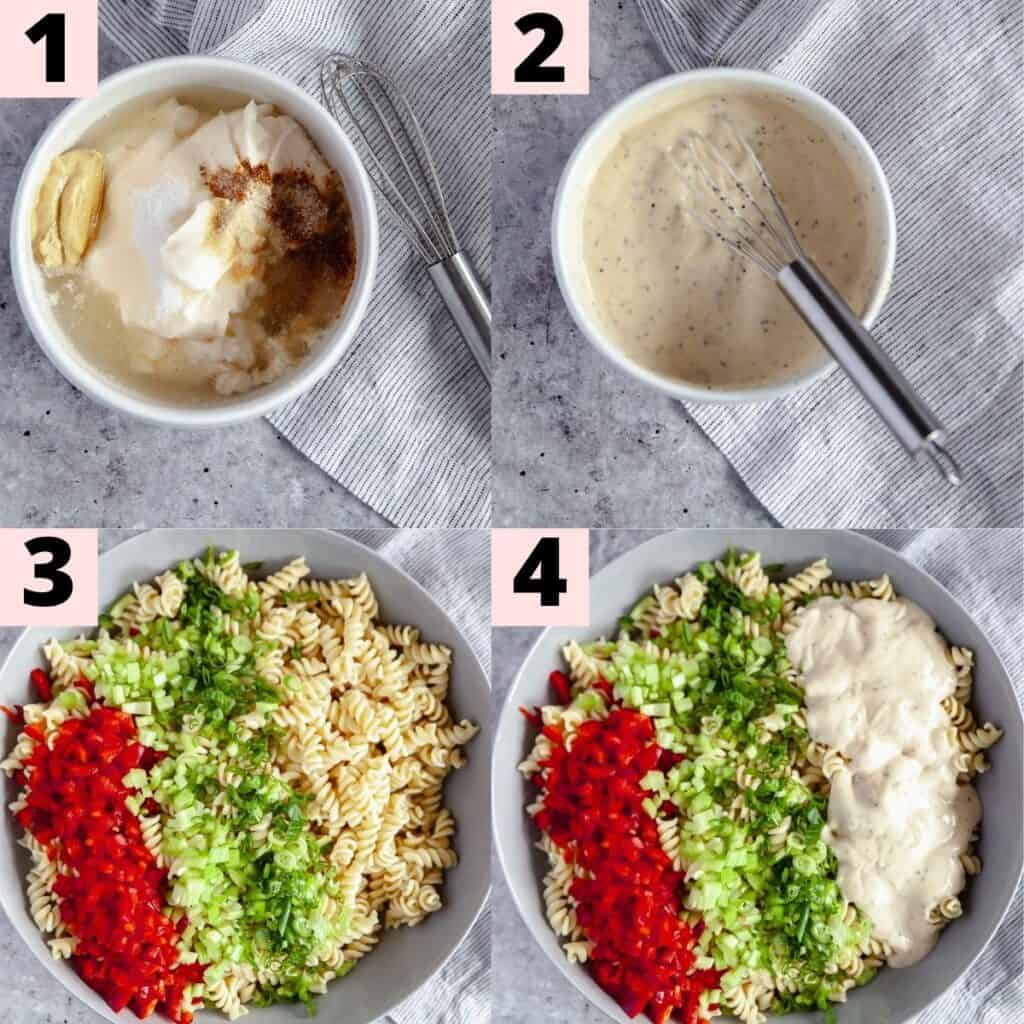 Step by step instructions for preparing macaroni salad