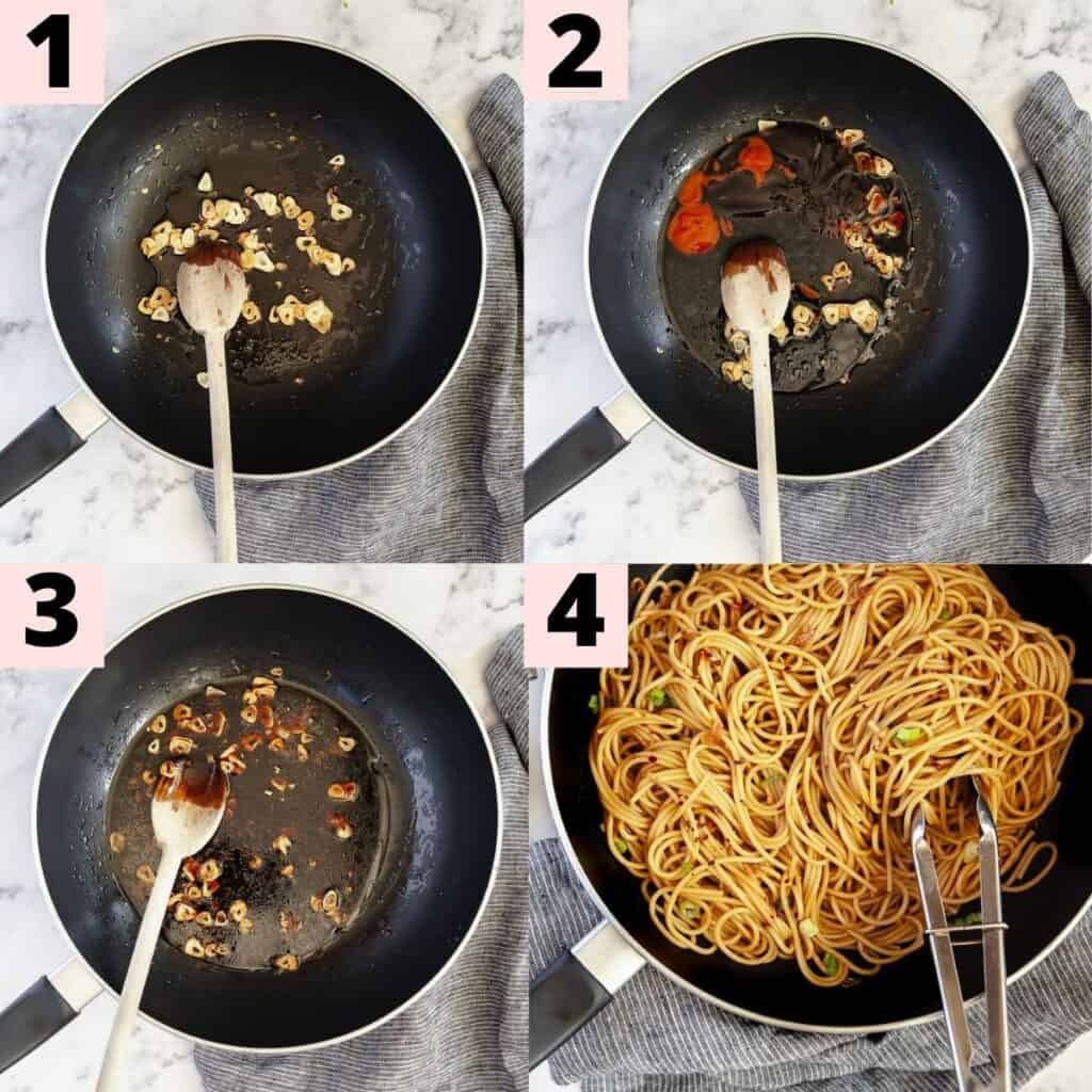 Instructions to make chilli garlic noodles