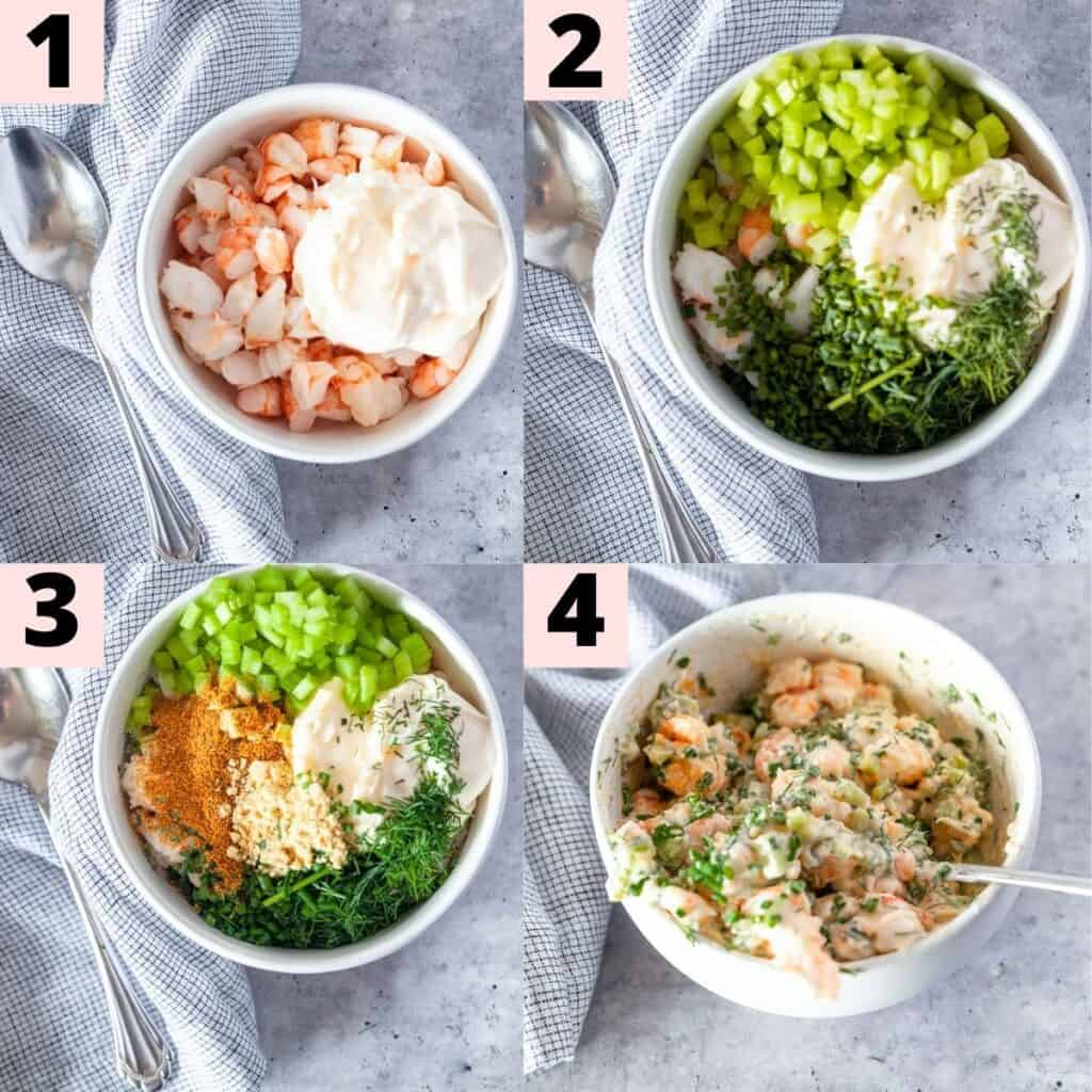 Step by step instructions for making shrimp rolls