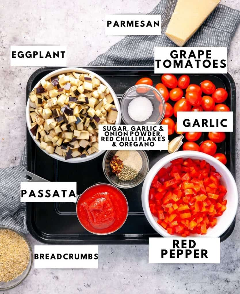 Ingredients laid out and labelled for eggplant pasta