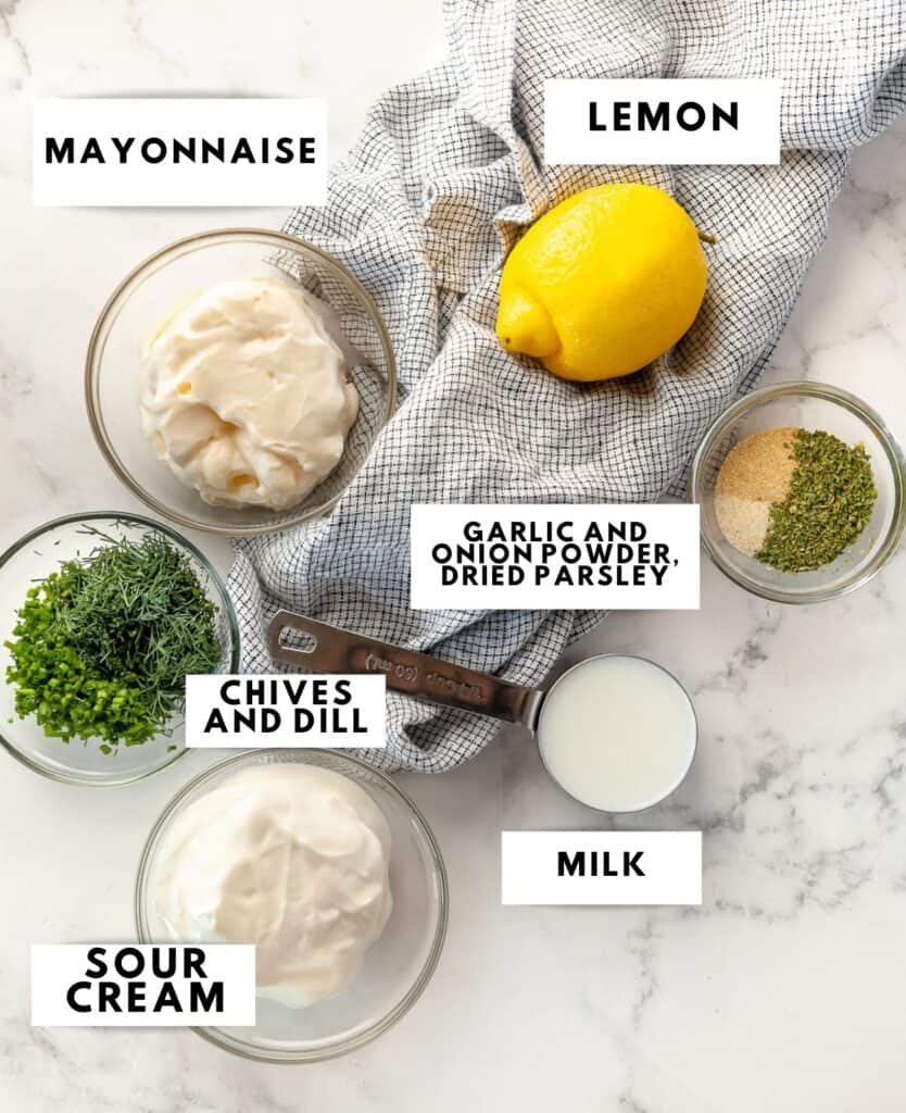 Ingredient for ranch dressing laid out and labelled