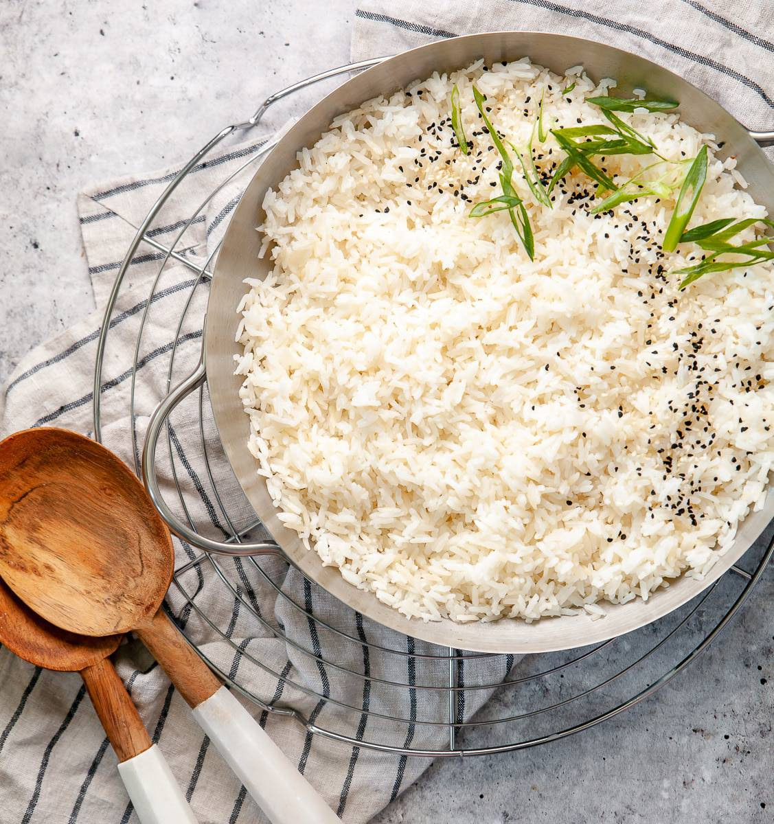 Perfect jasmine rice in a skillet, ready to serve.