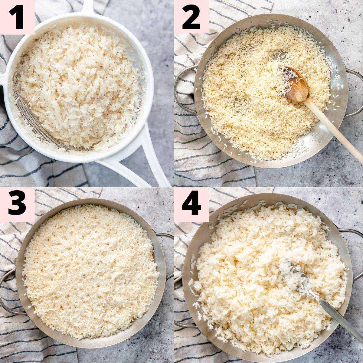 Step by step instructions for preparing jasmine rice