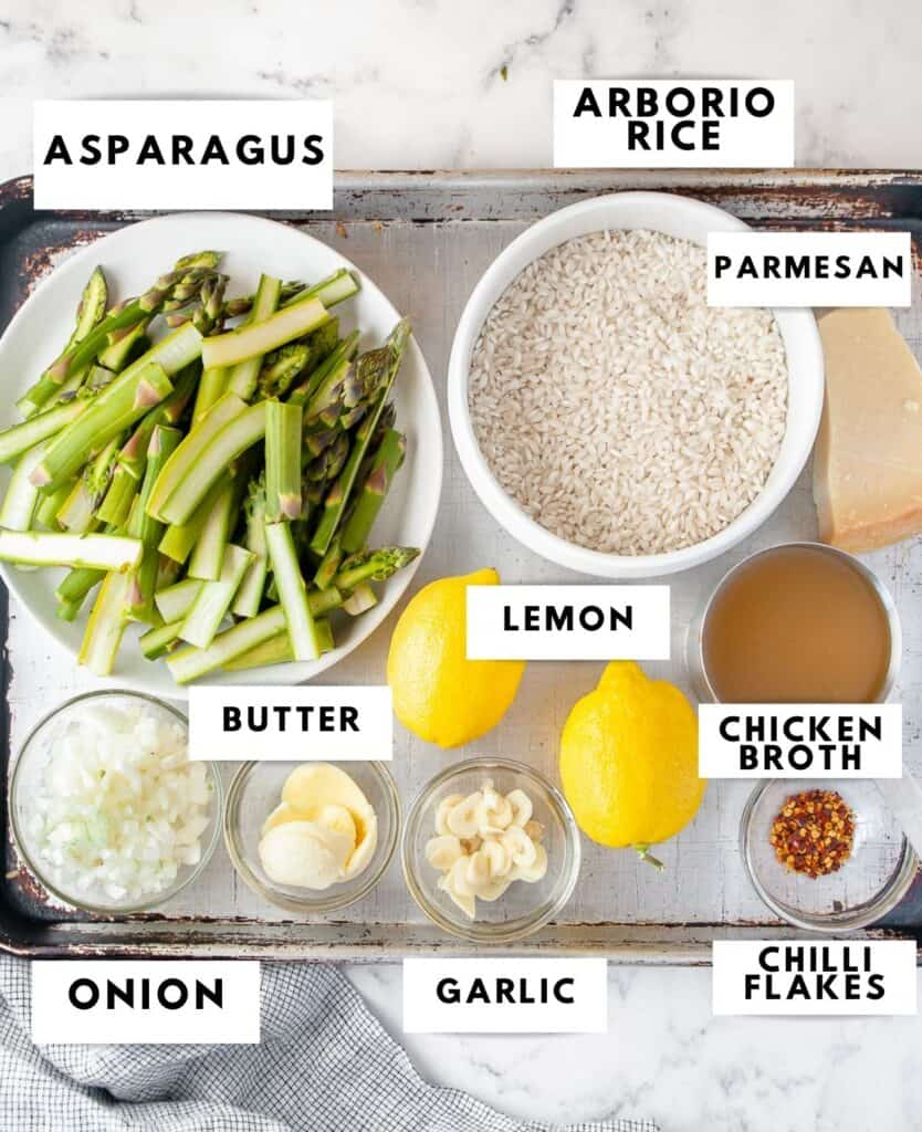 Ingredients for lemon risotto laid out and labelled
