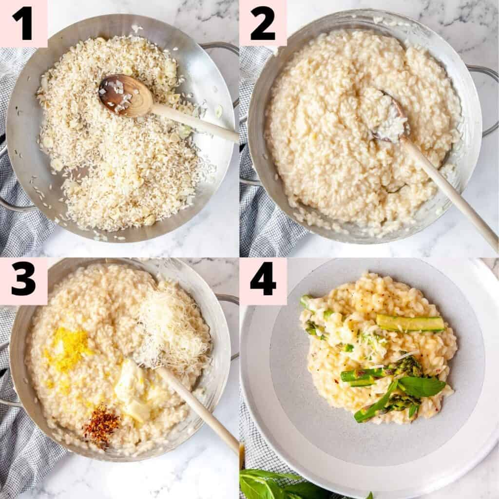 Step by step instructions on how to prepare risotto