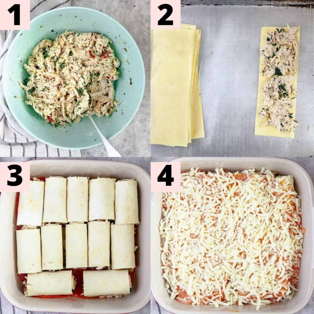 Step by step instructions for preparing lasagna rolls