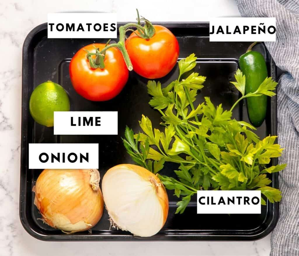 Ingredients for fresh pico de gallo labelled