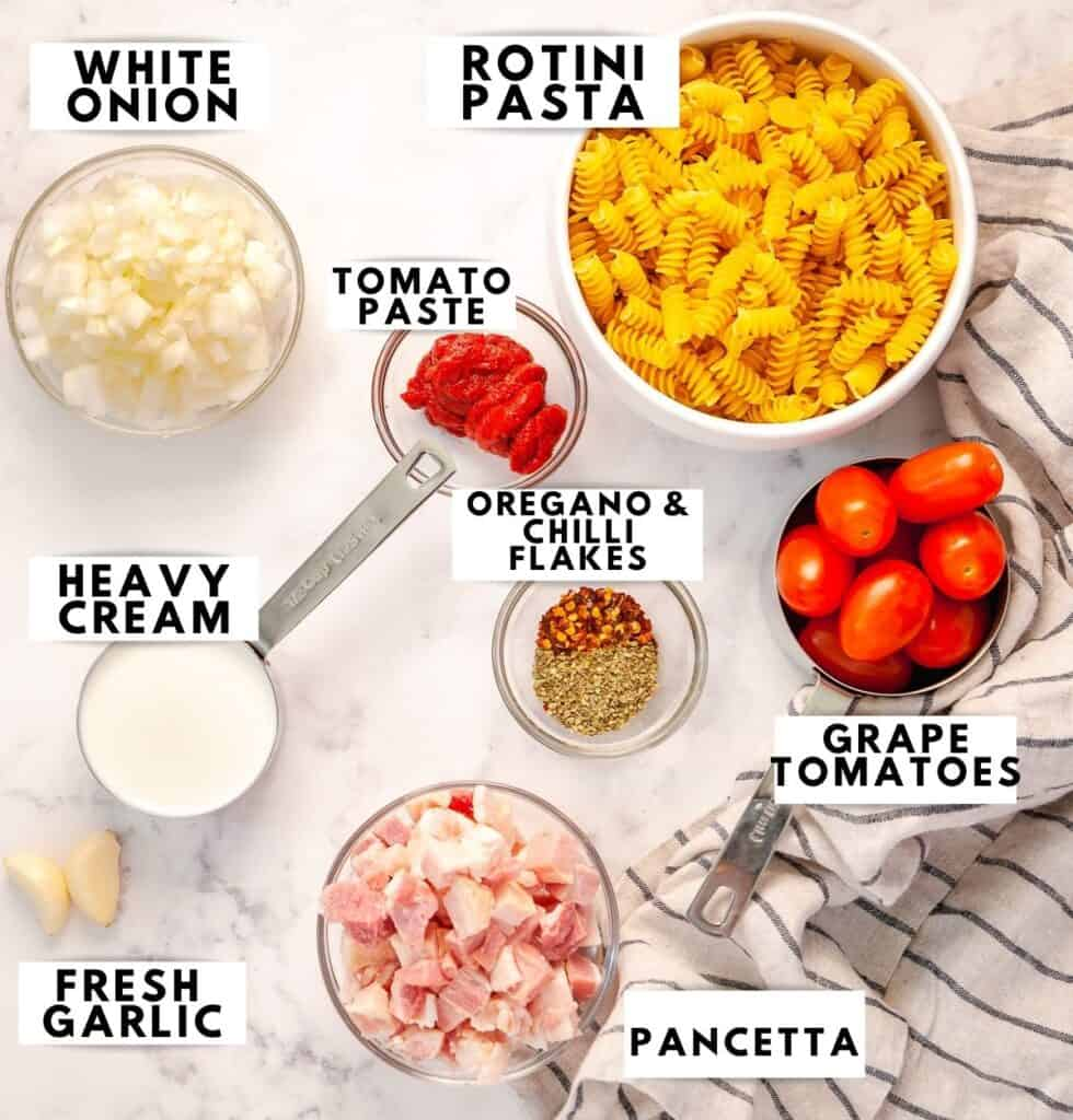 Ingredients for pasta, laid out and labelled