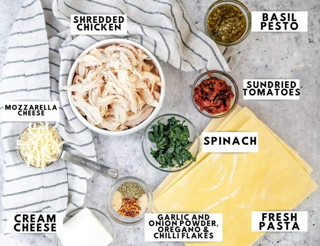 Ingredients for lasagna roll ups arranged and labelled