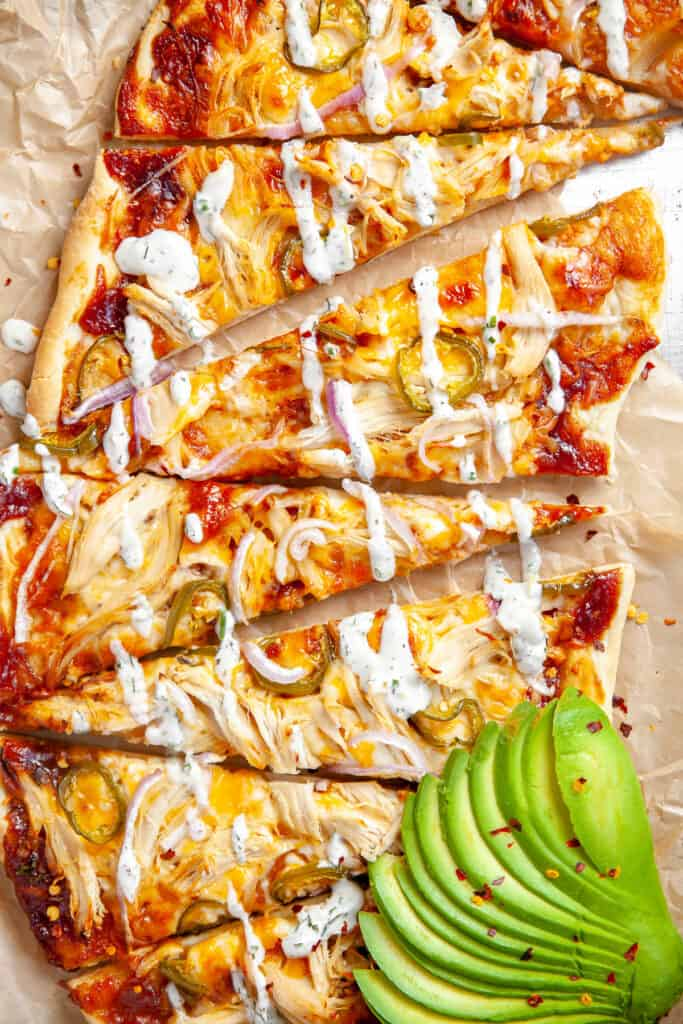 Barbecue chicken flatbread with homemade ranch drizzled on top