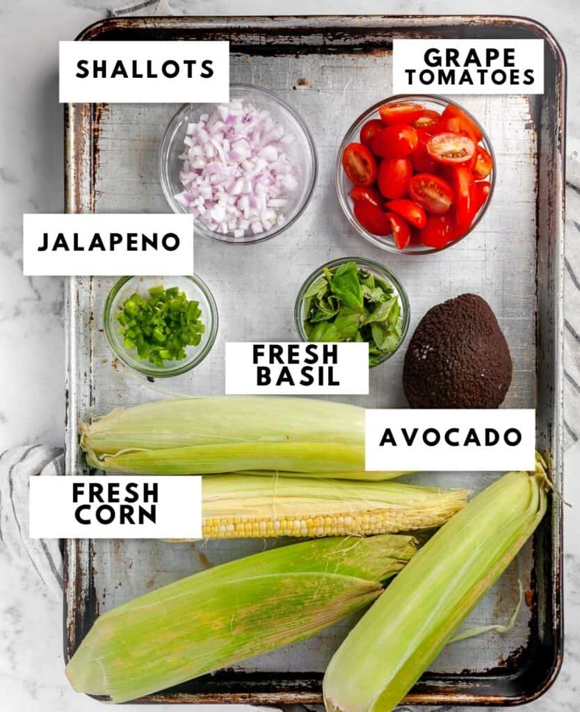 Ingredients for corn avocado salad labelled