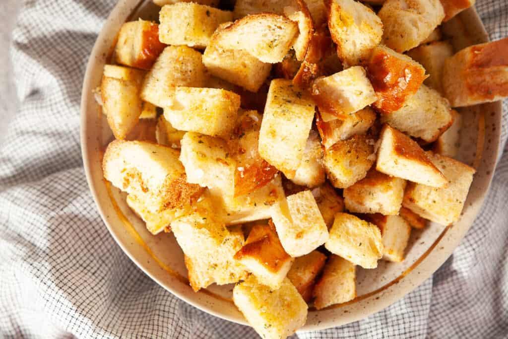 Sourdough croutons in a bowl
