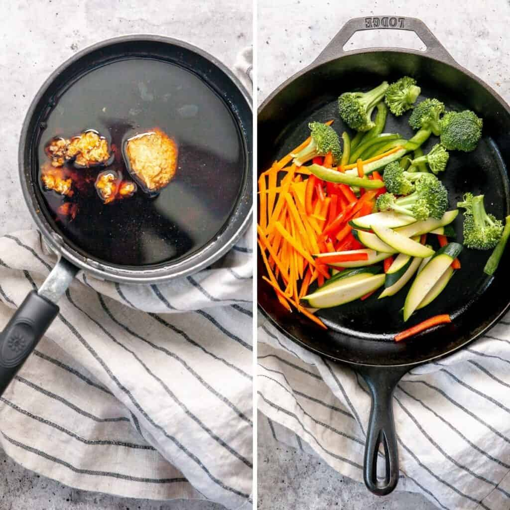 Step by step instructions to prepare teriyaki sauce and vegetables