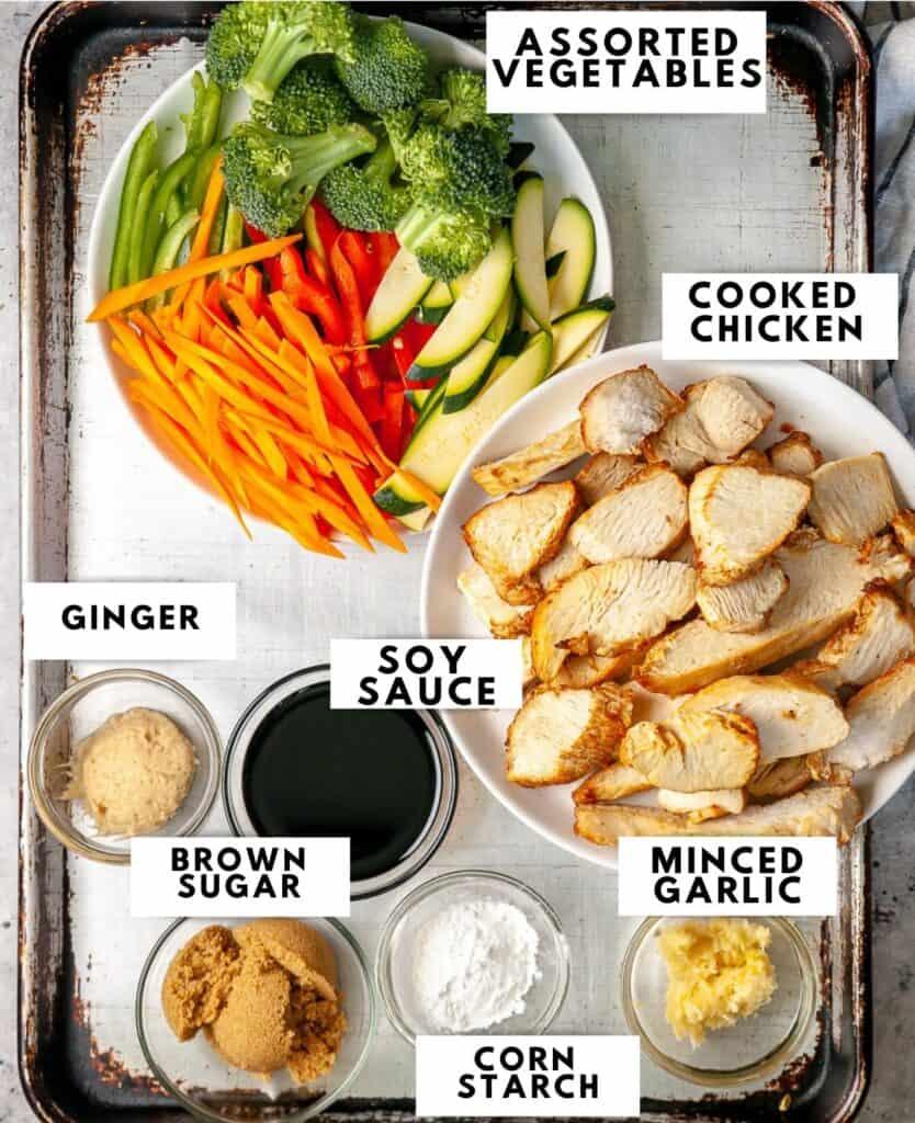 Ingredients to prepare chicken rice bowls labelled