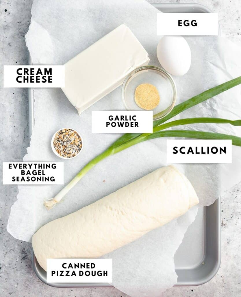 Ingredients to prepare the bagel bites labelled on a sheetpan