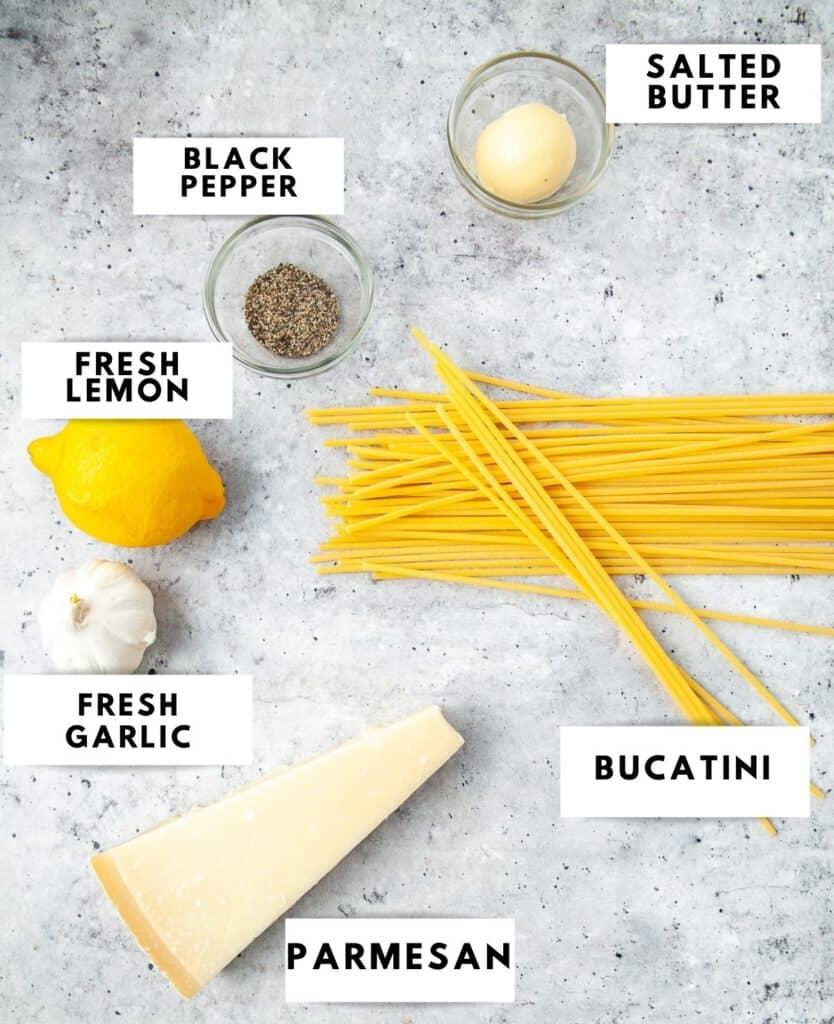Ingredients for lemon garlic bucatini labelled