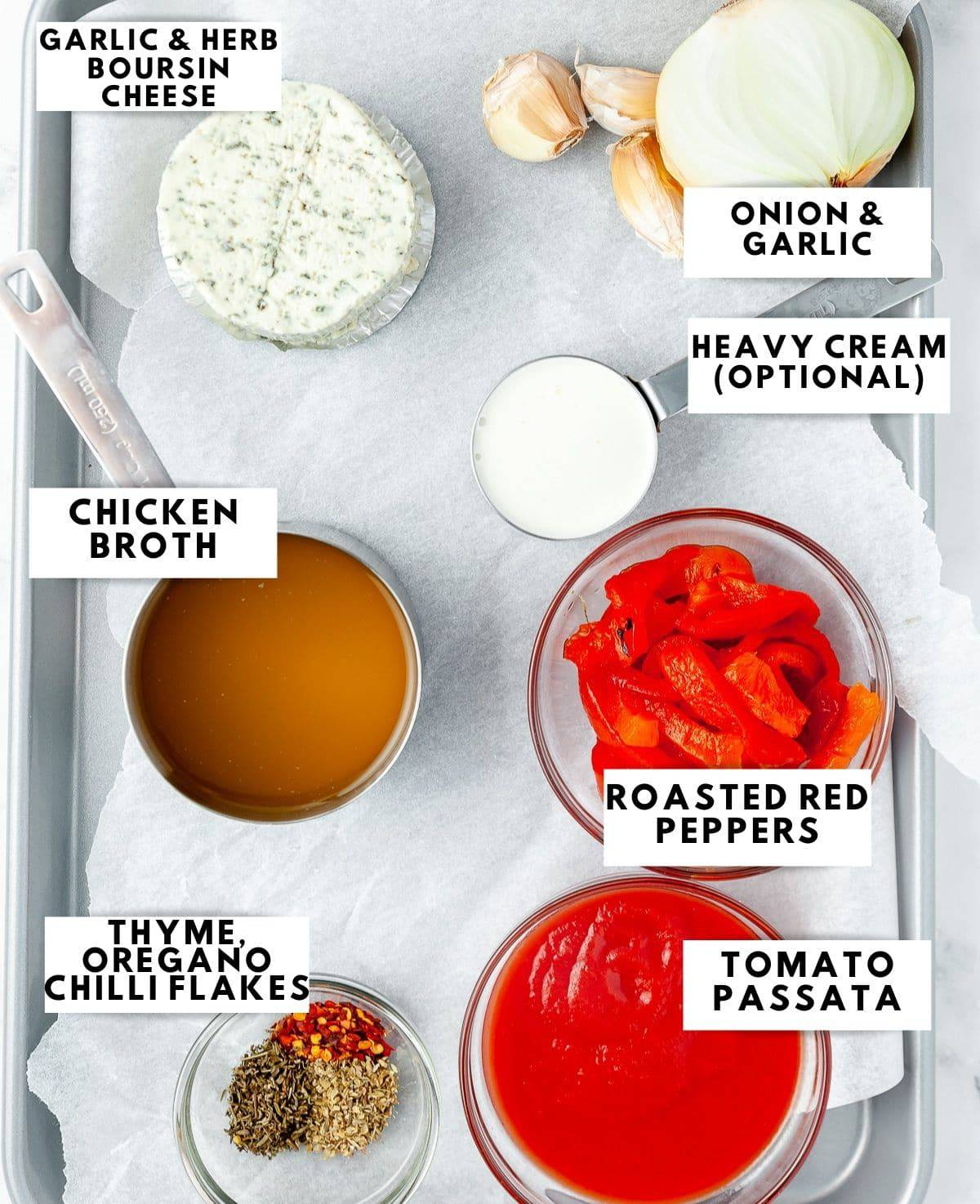 ingredients to prepare red pepper boursin bisque