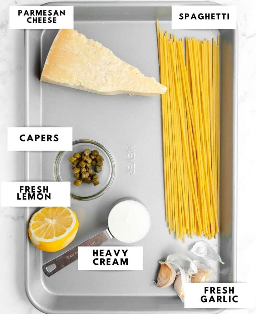 Ingredients for lemon caper pasta labelled