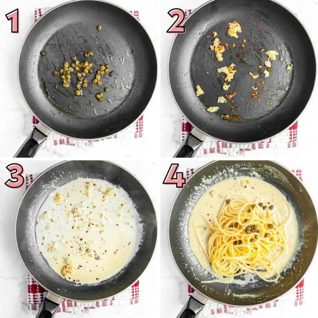 Instructions to prepare creamy lemon pasta